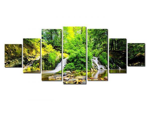 set tablou padure verde 7 piese luminos in intuneric