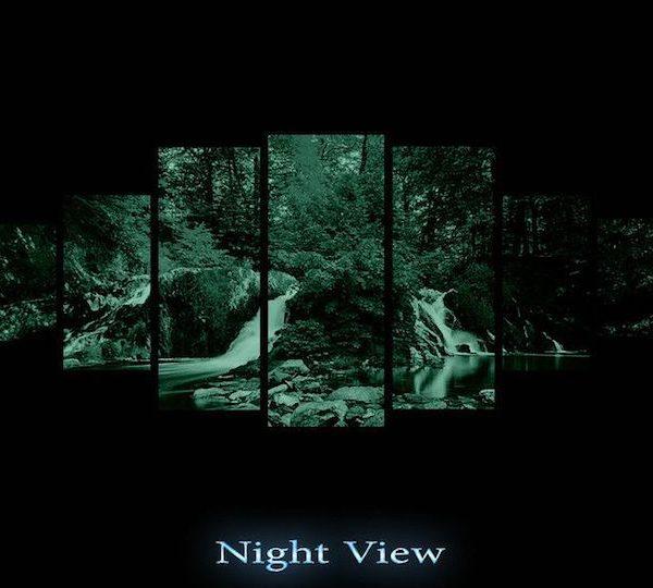 set tablou padure verde 7 piese luminos in intuneric night view
