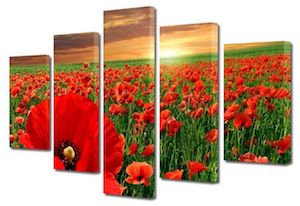 Set Tablouri 5 Piese Peisaje Maci la apus, Multicanvas, 70 x 125 cm