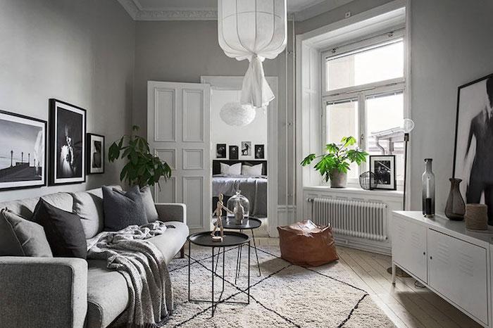 Amenajare apartament mic de 46 m2 in accente gri living modern apartament