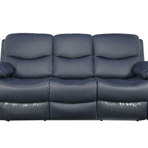 Canapea din piele, 2 reclinere, Gri, Kring Royal, 220 x 98 x 100 cm