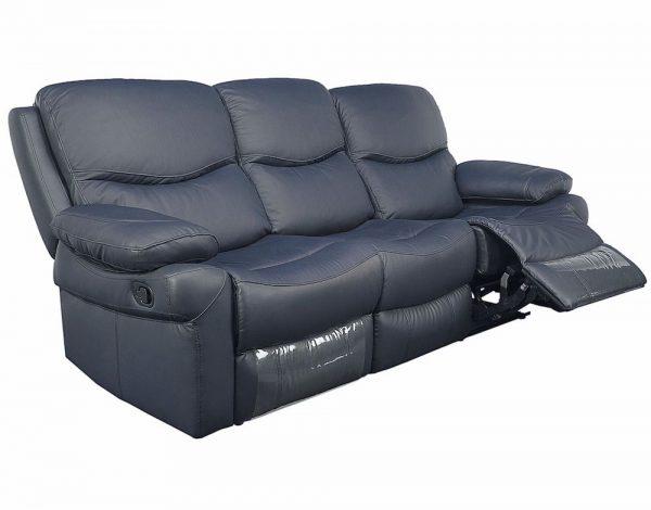 Canapea din piele, 2 reclinere, Gri, Kring Royal, modern 220 x 98 x 100 cm