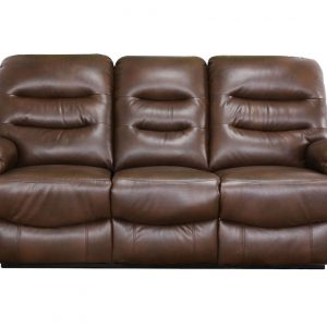 Canapea din piele cu 3 locuri, 2 reclinere, Maro inchis, 193 x 100 x 101 cm
