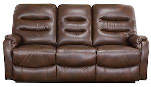 Canapea din piele cu 3 locuri, 2 reclinere, Maro inchis