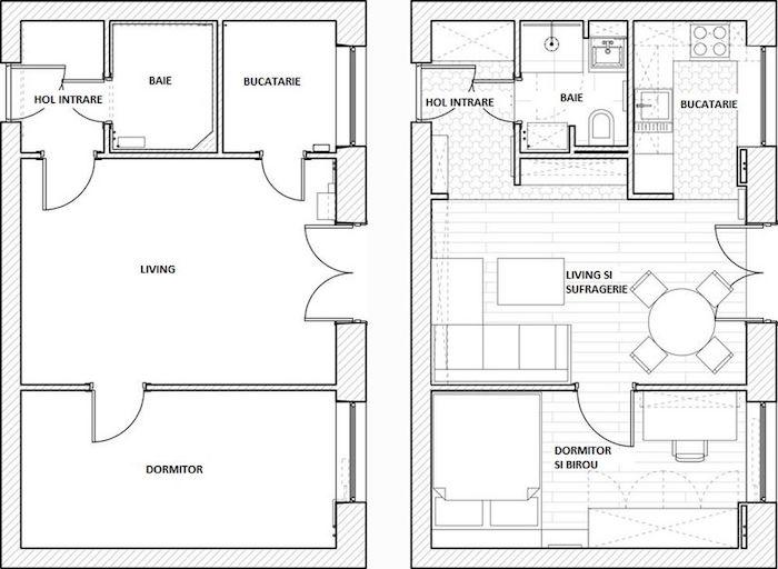 amenajare apartament mic 2 camere plan