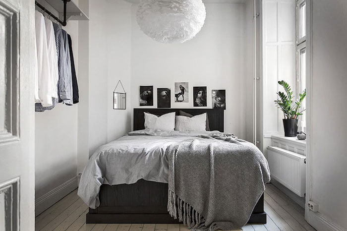 amenajare dormitor mic in apartament Amenajare apartament mic de 46 m2 in accente gri