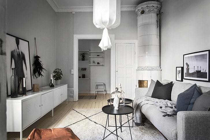 amenajare living modele Amenajare apartament mic de 46 m2 in accente gri