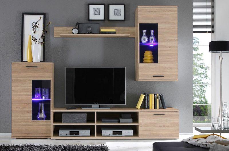mobilier living modern cu etajere Living Frontal culoare stejar sonoma