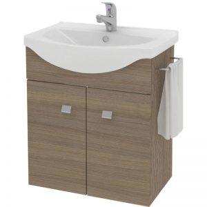 Baza mobilier baie, cu doua usi, lavoar ceramic si suport prosop, 56.5x65x42.5cm Stejar