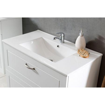 Set mobilier baie, Masca lavoar + lavoar 60cm, Oglinda, Design Modern, detalii lavoar baie