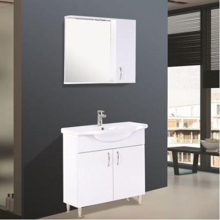 Set mobilier baie cu oglinda cu dulap plus dulap baie cu 2 usi 45 cm Dublu