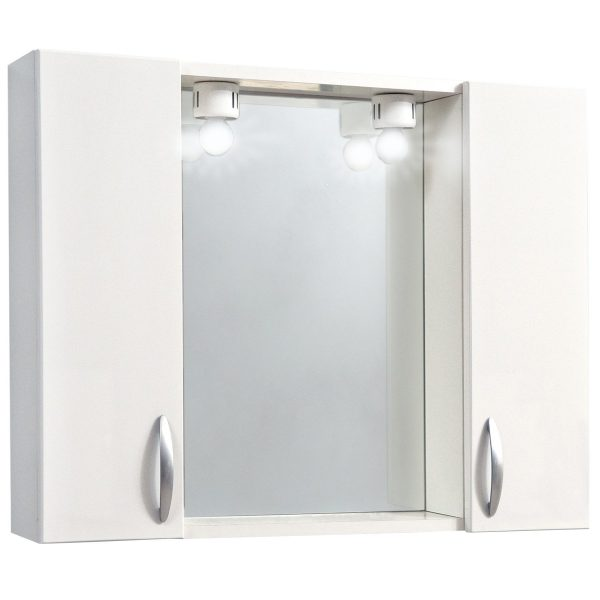 dulap baie cu oglinda doua usi iluminare led 77x57x16 cm