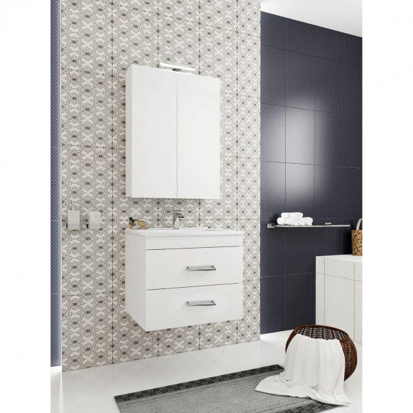 dulap cu oglinda doua usi lampa led alb-mobilier baie ieftin