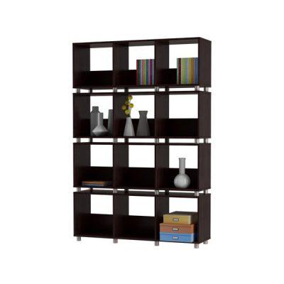 Bibliotecă cu 12 compartimente Støraa Hendrix, negru