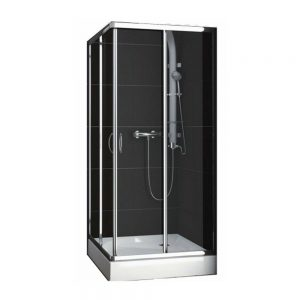 Cabina de dus cu usi glisante Aquaform Nigra , dimensiune 80x80 cm, panou de sticla securizata clara