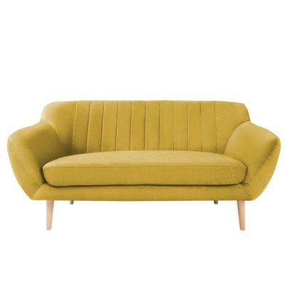 Canapea cu 2 locuri și picioare de culoare deschisă Mazzini Sofas Sardaigne, galben