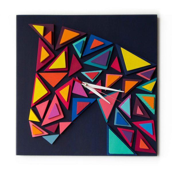 Ceas de Perete decorativ, Lemn, Pictat manual, 3D Profil Calut ceas birou ceas living