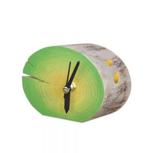 Ceas de birou, Lemn masiv, Pictat manual, Verde - Deco Box