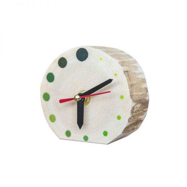 Ceas de masa din lemn natur cu buline verzi, Pictat manual, DOTS - Deco Box