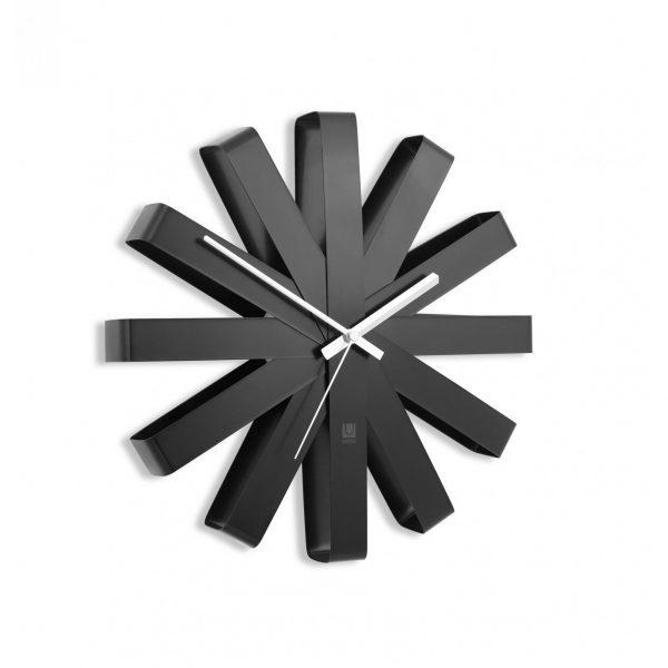 Ceas de perete, Design modern, otel inoxidabil, negru Umbra Ribbon