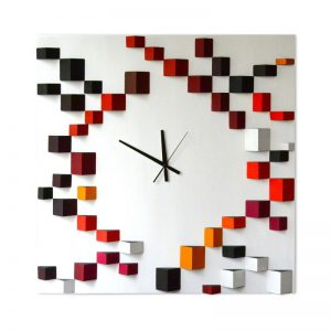Ceas de perete, Lemn, Forme geometrice pictate manual, Angles