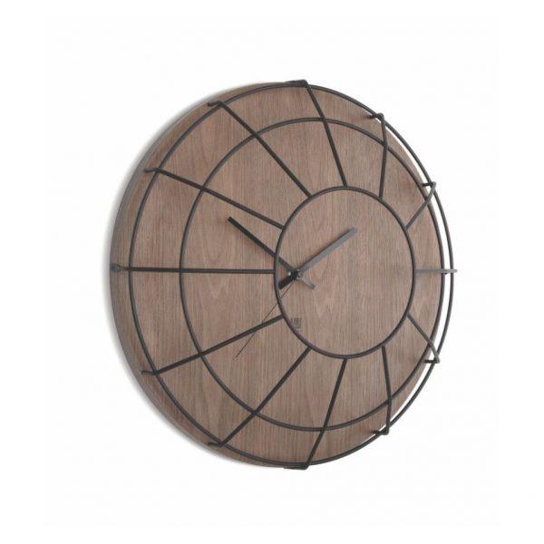 Ceas de perete cu Design unic realizat din lemn cu gratii metalice