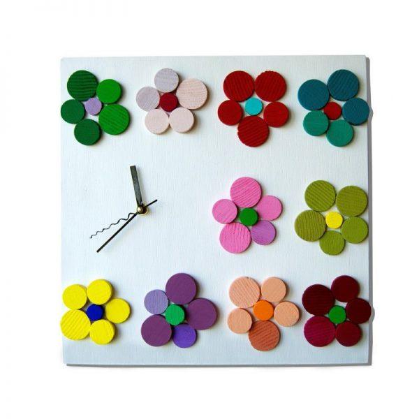 Ceas de perete din lemn, Camp de flori pictate manual, Multicolor