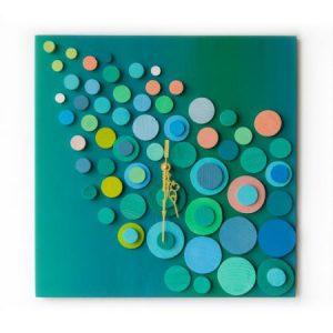 Ceas de perete din lemn, Turcoaz, Forme geometrice cercuri, Pictat manual ceas pentru birou ceas living