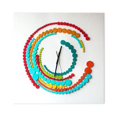 Quantic Ceas de Perete din Lemn 70×70 cm 3D Turcoaz