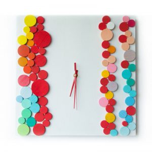 Ceas de perete pictat manual, Lemn, Forme geometrice, Deco-Box, Deco Bubbles Alb ceas birou ceas living