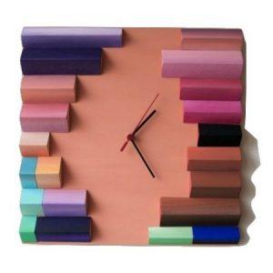 Ceas decorativ de perete, Lemn, Forme multicolore geometrice pictate manual