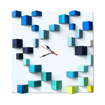 Ceas decorativ de perete din lemn, Mozaic 3D