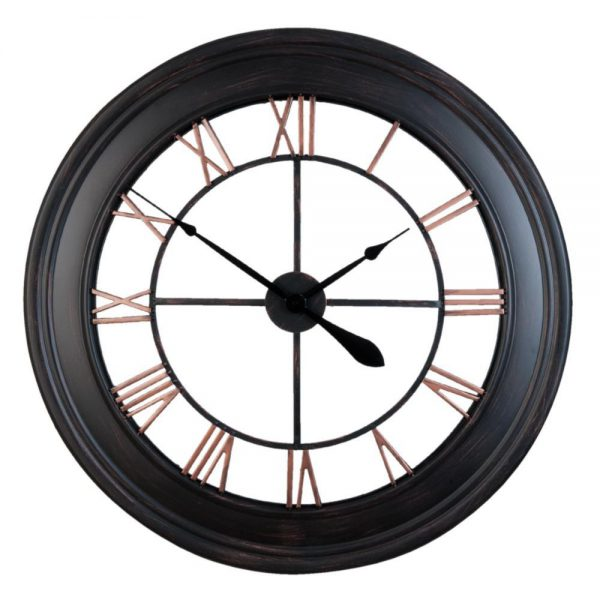 Ceas din metal, Design Retro, Cifre romane, Negru - Clayre & Eef