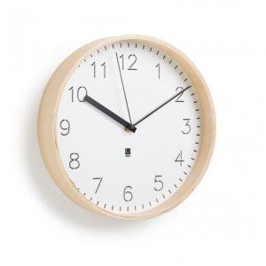 Ceas modern pentru birou sau living din lemn de nuc si metal Maro deschis