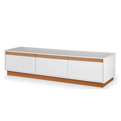 Suport TV cu plintă și detalii din lemn Dřevotvar Ontur 02, alb