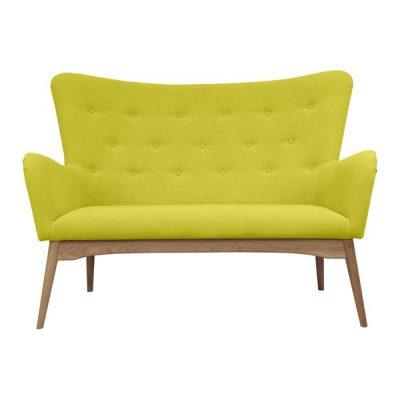 Canapea cu 2 locuri Scandizen Alicia, galben