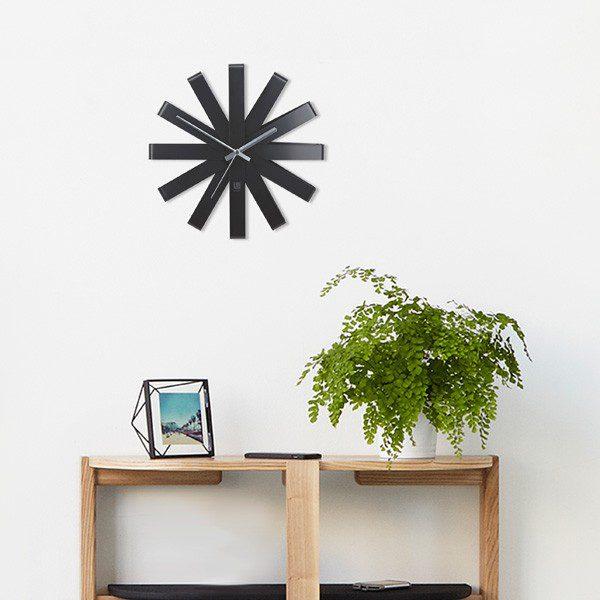 ceas de perete negru otel design modern ceas pentru living