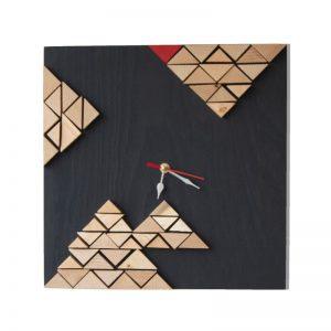 ceas modern pentru living Ceas decorativ de perete din lemn, Mozaic 3D