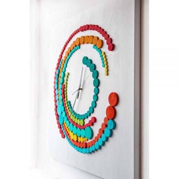 ceas pentru birou Ceas de perete din lemn cu forme giometrice pictat manual tablou cu ceas