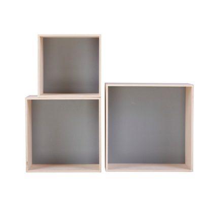 Set 3 rafturi Nørdifra Cubes, gri