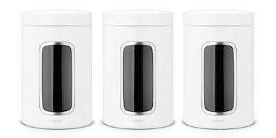 Set 3 recipiente depozitare cu fereastra 1.4 l inox, 11 x 17.5 cm Brabantia