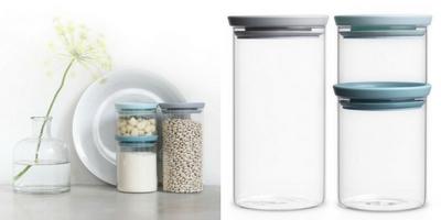 Set 3 recipiente sticla depozitare alimente