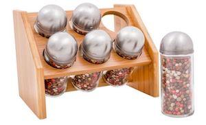 Set de recipiente pentru condimente Renberg, 7 piese, Suport bambus