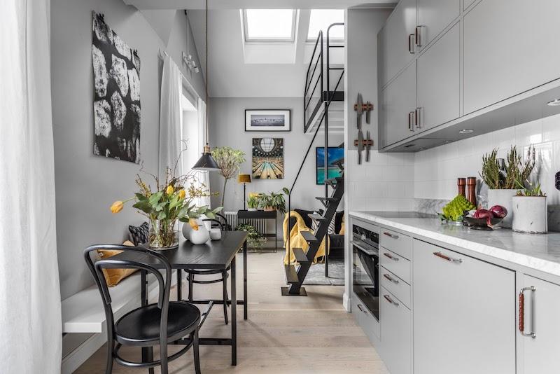 amenajare bucatarie mica in garsoniera moderna 31 m2
