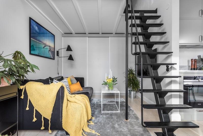 amenajare garsoinera mica de 31 mp cu dormitor deasupra