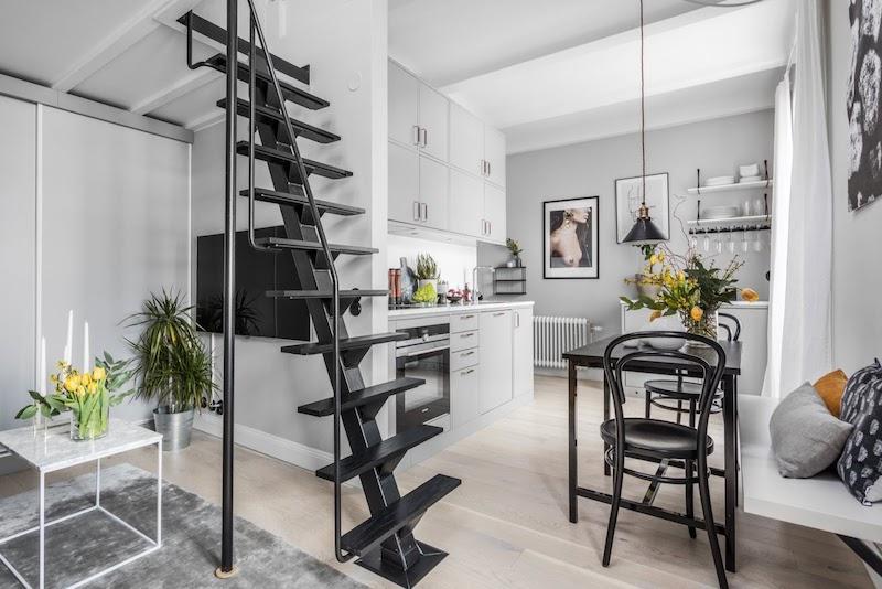 amenajare garsoniera ingusta moderna bucatarie si sufragerie 31 m2
