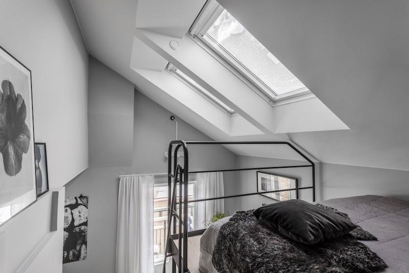 idei amenajare dormitor mansarda garsoniera 31 m2