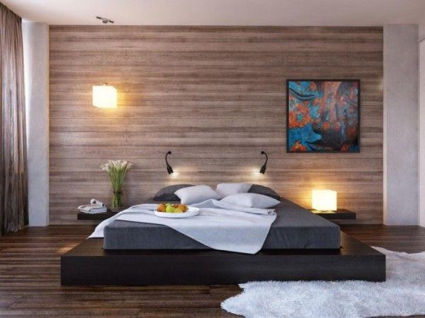 parchet laminat pe perete in dormitor