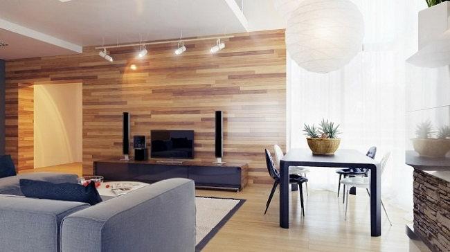 parchet laminat pe perete in living open space