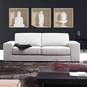 Set 3 autocolante cu efect 3D Ambiance White Buddha